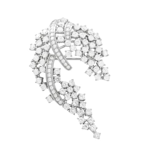 Luxiro Sterling Silver White Cubic Zirconia Women's Brooch