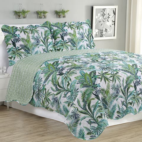 Melissa - 3 Piece Quilt bedspread Set queen and king size - Jungle Green