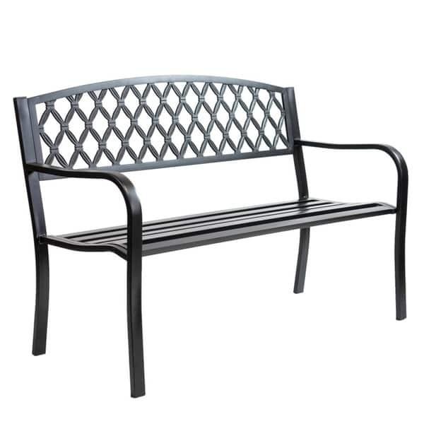 Red Oak Kitchen Table, Shop Patio Premier Lattice Back Metal Park Bench Black Overstock 31009955