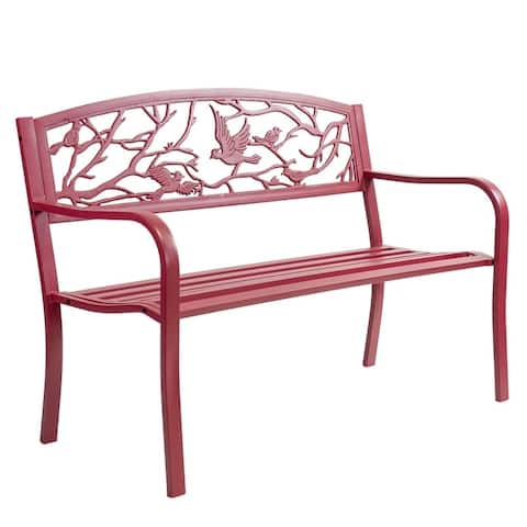 Patio Premier Perched Birds Metal Park Bench - Red