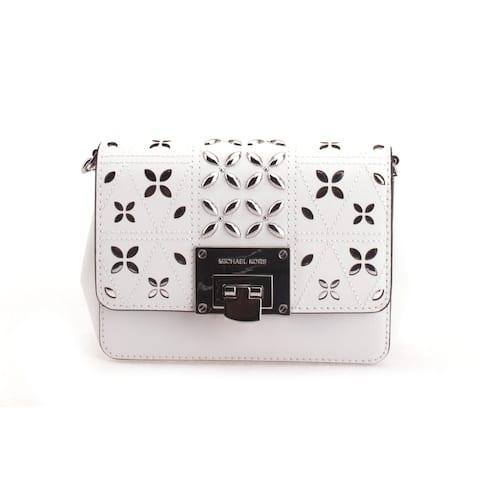Michael Kors Women's Tina Small Clutch Crossbody Bag Optic White, 35S8ST4C5T