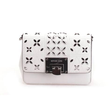 Michael Kors Womens Tina Small Clutch Crossbody Bag Optic White 35S8ST4C5T