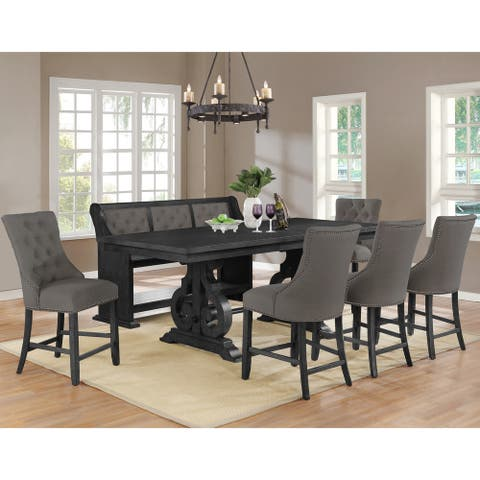 Best Quality Furniture Dining Sets with Tufted Backrest Upholstered Counter Height Chairs and Bench