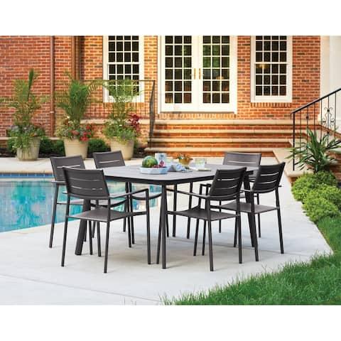 Oxford Garden Eiland 7-Piece Carbon Dining Table Set