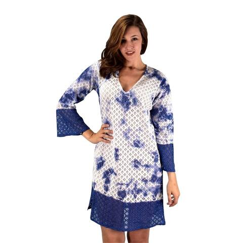 Peach Couture Cotton Crochet Lace Tunic Summer Cover Ups Beach Wear