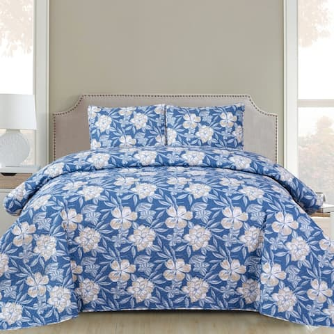 Vera - 3 Piece Quilt Set queen and king size - Blue