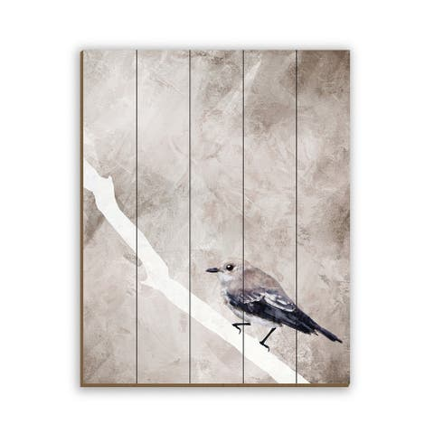 Kathy Ireland Painted Flycatcher Bird on Brown on Planked Wood Wall Art Print