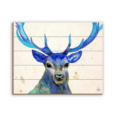 Kathy Ireland Cyrus Deer in Blue Watercolor Abstract on Planked Wood Wall Art Print