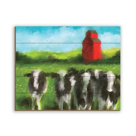 Kathy Ireland Blueberry Farm Cows Rustic Abstract on Planked Wood Wall Art Print
