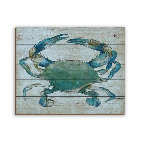 Kathy Ireland Turquoise Blue Crab Nautical on Planked Wood Wall Art Print