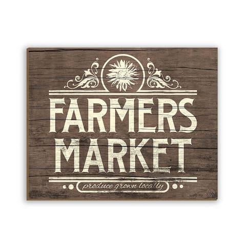 Kathy Ireland Rustic Farmer's Market Sign on Planked Wood Wall Art Print