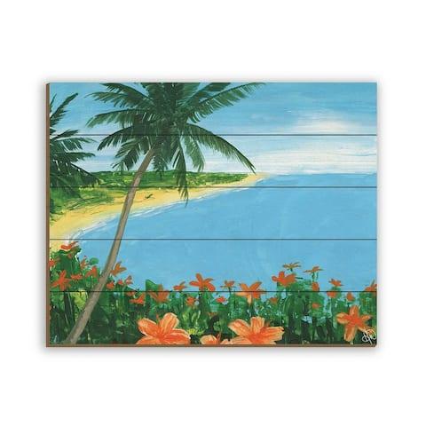Kathy Ireland Oahu Island Tropical Paradise on Planked Wood Wall Art Print