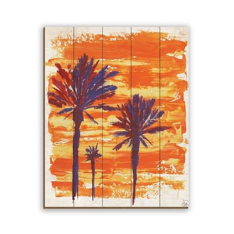 Kathy Ireland Colorful Sunset Palms on an Orange Sky on Planked Wood Wall Art Print