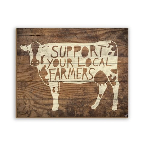 Kathy Ireland Local Farmers Cow Rustic Antique on Planked Wood Wall Art Print