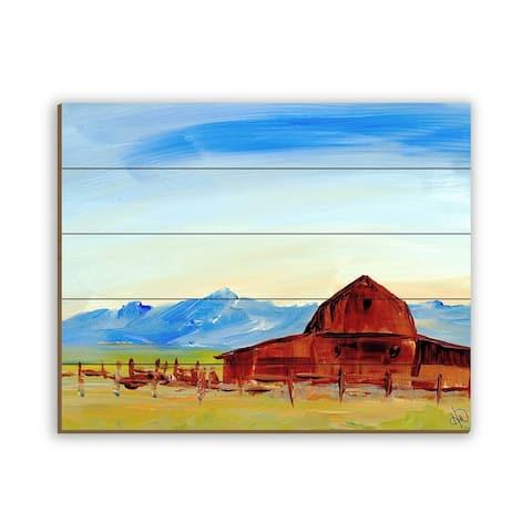 Kathy Ireland Rocky Mountain Rustic Barn Landscape on Planked Wood Wall Art Print