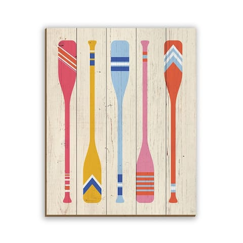 Kathy Ireland Boat Paddles in Pink & Orange Nautical on Planked Wood Wall Art Print