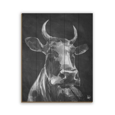 Kathy Ireland Audelia the Cow in Black & White on Planked Wood Wall Art Print