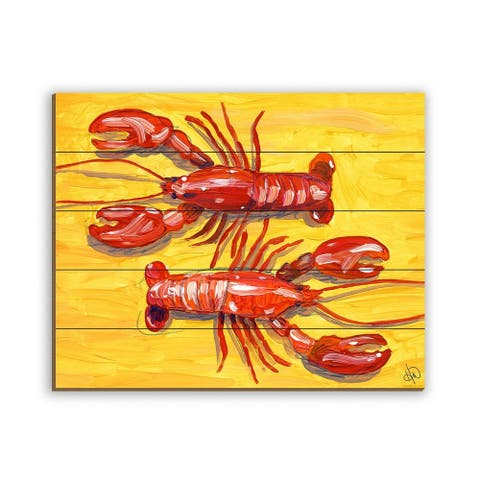 Kathy Ireland Red Lobsters on Yellow Nautical on Planked Wood Wall Art Print