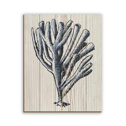 Kathy Ireland Rustic Coral on Beige Nautical on Planked Wood Wall Art Print