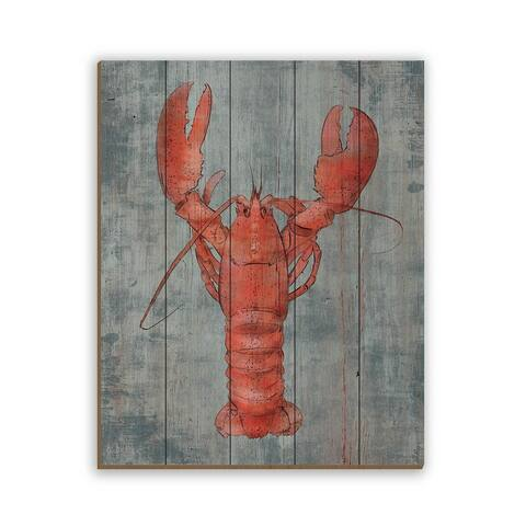 Kathy Ireland Lobster in Red on Slate Blue Nautical on Planked Wood Wall Art Print