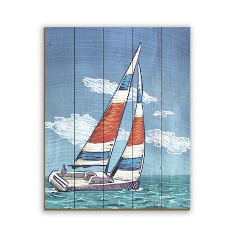 Kathy Ireland Sailing Away to Paradise Sailboat Nautical on Planked Wood Wall Art Print