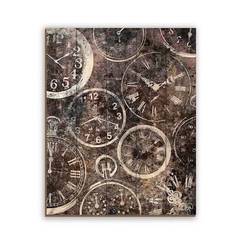Kathy Ireland A Series Of Rusted Watches on Sepia Brown Abstract on Planked Wood Wall Art Print