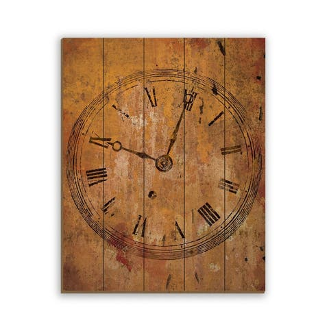 Kathy Ireland Tick Tock Rustic Abstract Clock on Planked Wood Wall Art Print