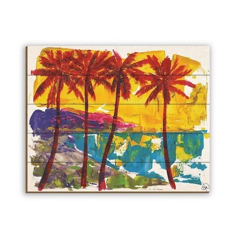 Kathy Ireland Red Pom Pom Palm Trees on Yellow Sky on Planked Wood Wall Art Print