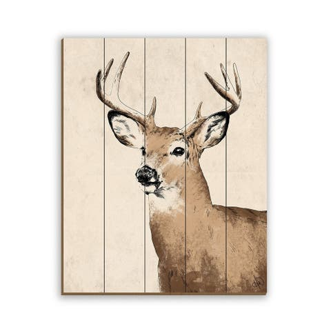 Kathy Ireland Rustic Deer May Be Lost on Planked Wood Wall Art Print