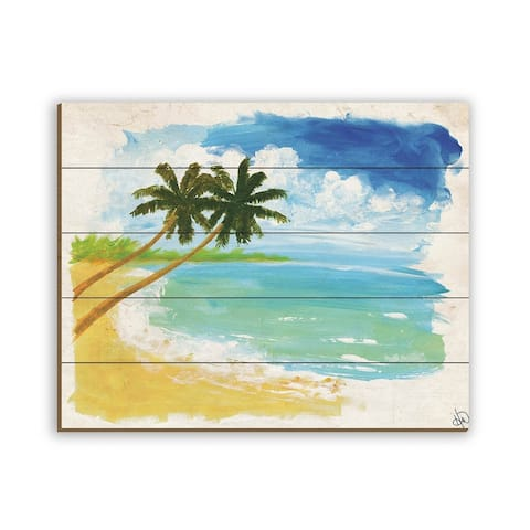 Kathy Ireland Kekelika Tropical Seascape on Planked Wood Wall Art Print