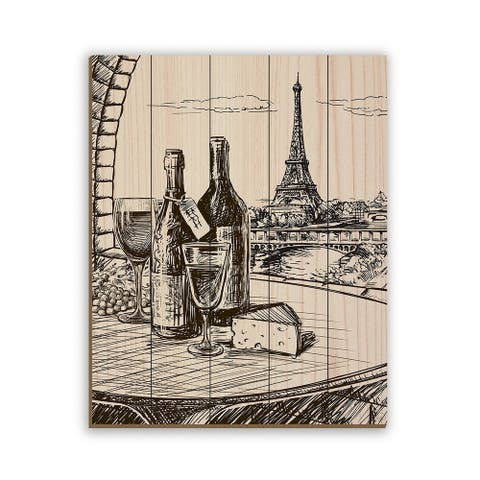 Kathy Ireland Paris View with Wine & Cheese Drawing on Planked Wood Wall Art Print