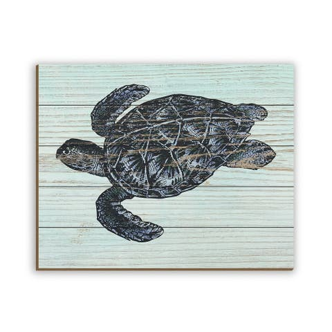 Kathy Ireland Rustic Sea Turtle in Aquamarine Blue Nautical on Planked Wood Wall Art Print