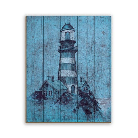Kathy Ireland Light House on Blue Grunge Nautical on Planked Wood Wall Art Print