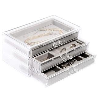 "Transparent Gray Velvet Jewelry Box Organizer, 3 Drawers, 9.25 x 5.25 x 4 inches - 9.25""x5.25""x 4"""