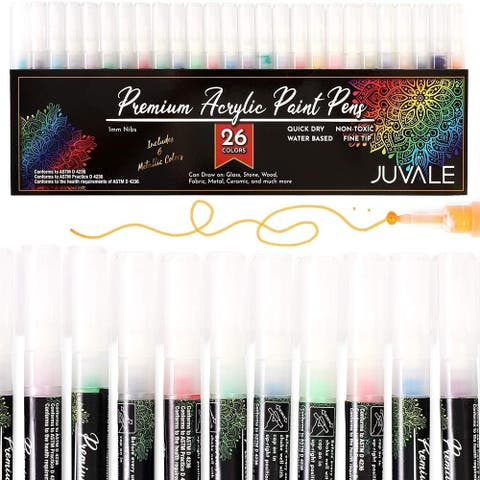26x Water Based Acrylic Paint Marker Pens Set for DIY Art Crafts Fine Tip 1mm