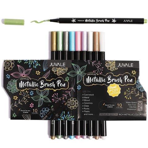 Set of 2 Metallic Brush Marker Pen Set for Rock Painting DIY Artworks, 10 Colors - 10 Colors