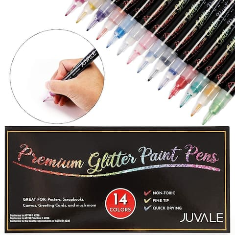 Glitter Paint Pen Set for DIY Crafts Art Calligraphy Cardmaking 14 Colors - 14 COLOR