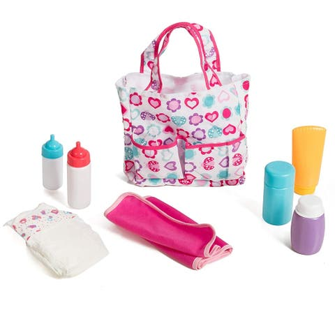 5 Pocket Diaper Bag with 7 Doll Care Accessories