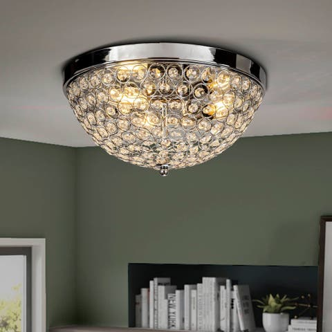 Interior Decor Crystal Beaded 3-lights Flush Mount Ceiling Lighting - 13.5 inches wide 3pcs E12 bulb needed