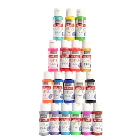 18 Packs Washable Tempera Paint Set for Kids Art Projects Painting Classrooms Schools DIY Art and Crafts, 2 oz, Multicolored
