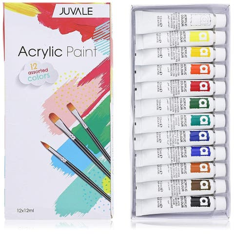12 Packs Acrylic Paint Set Tubes for Painting Art and Crafts Artists Students Kids Amateurs, 12 Assorted Colors, 12 x 12ml