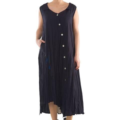 Linen Dress with Lace Panel - Women's Plus Size Dresses - Summer Dress - La Mouette Collection