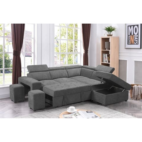 Copper Grove Ajibade Sleeper Sectional Sofa with Storage Ottoman and 2 Stools
