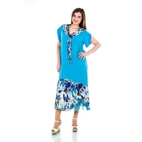 100% Viscose Romantic Floral Dress with Scarf - Women's Plus Size Dresses - Plus Size Clothing - La Mouette Collection