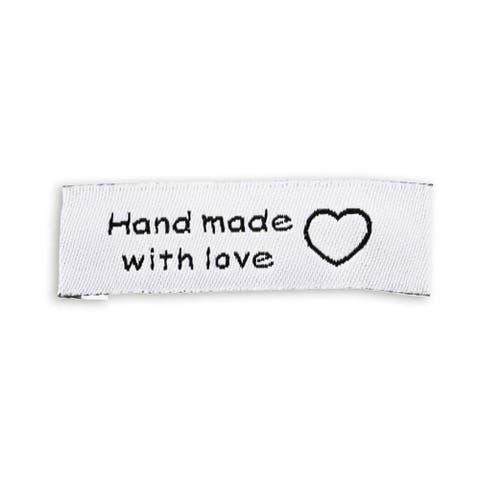 "200 Pack Made with Love Sewing Labels Tags for Handmade Items Clothes, 0.6 x 2"" - 0.6"" x 2"""