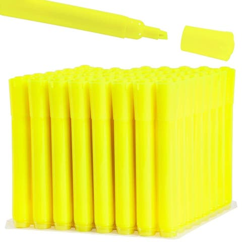 64-Pack Yellow Highlighters Markers Pen Stationery Bulk Wide Chisel Tip for Students Schools Office Homework Notes - 64 Pack