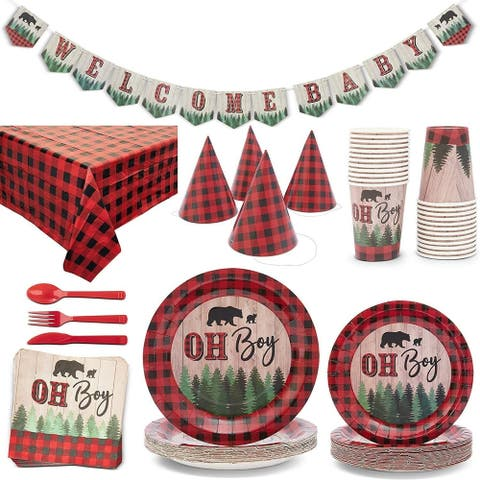 Serves 24 Oh Boy Lumberjack Buffalo Plaid Baby Shower Party Supplies Decorations