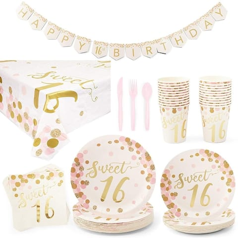 Serves 24 Sweet 16 Birthday Party Supplies and Decorations for Girls Kids