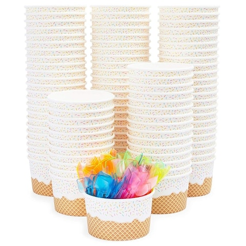 """100 Serve Disposable Paper Cup Dessert Ice Cream Yogurt Bowls with Neon Spoons - 3.75"""" x 2.7"""""""