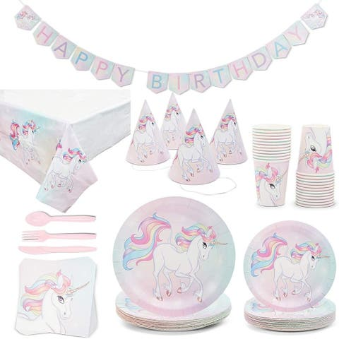Serves 24 Rainbow Unicorn Birthday Party Supplies Decorations for Kids Girls